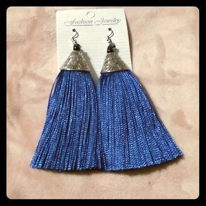 Royal blue tassel earrings